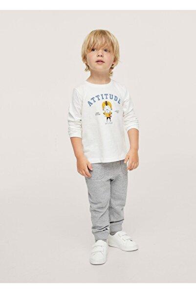 MANGO Baby Bebek Kırık Beyaz Uzun Kollu Baskılı Tişört