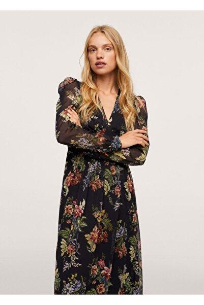 MANGO Woman Çiçekli Elbise