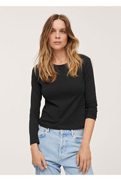 MANGO Woman Kadın Siyah %100 Pamuklu Tişört