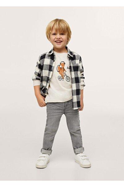 MANGO Baby Bebek Açık/Pastel Gri Uzun Kollu Baskılı Tişört