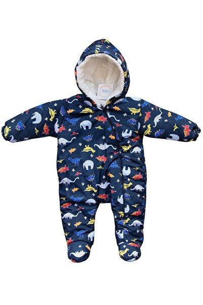 Mika Bebek & Çocuk Dinozor Fil Baskılı Erkek Bebek Koyu Lacivert Kozmonot Tulum
