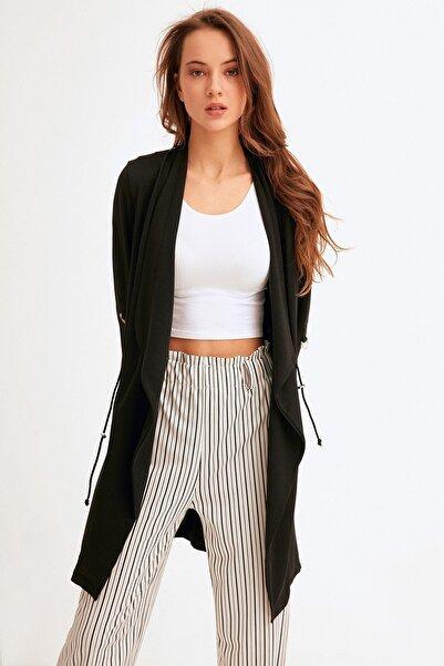 Fulla Moda Kadın Beli Bağlamalı Uzun Ince Ceket
