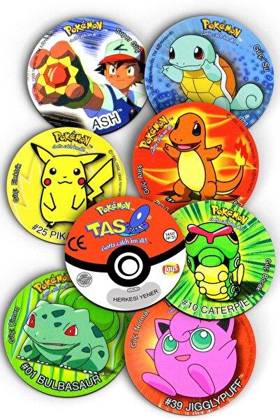 Mutlu Parti Pokemon Taso Şeklinde, Nostaljik, Dekoratif Bardak Altlığı 8 Adet