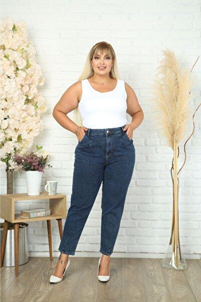CEDY DENIM Kadın Mavi Büyük Beden Pileli Mom Jean Pantolon C600
