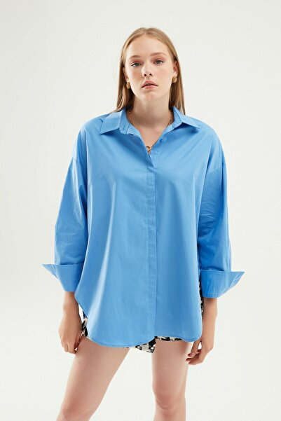 Quzu Oversize Basic Gömlek Mavi