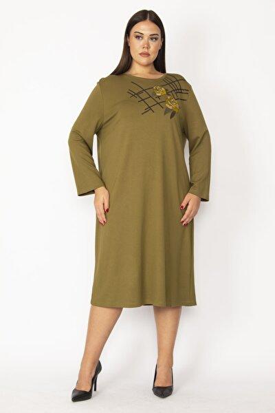 Şans Kadın Haki Nakış Ve Payet Detaylı Uzun Kollu Elbise 65N28729