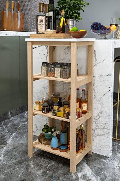 AnkaWood Ahşap 4 Raflı Mutfak Düzenleyici Çok Amaçlı Raf Baharatlık Kiler Rafı Dekoratif Mutfak Rafı