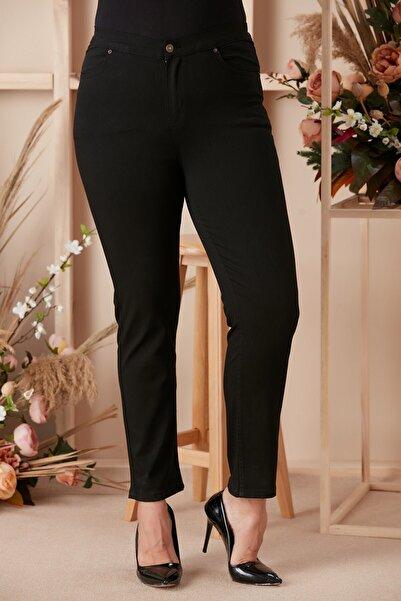 RMG Beli Lastikli Büyük Beden Siyah Kot Pantolon
