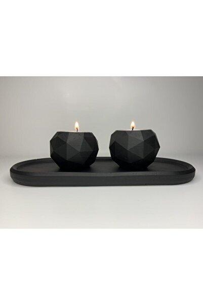 SemArt Home Beton El Yapımı Siyah Mumluk Set