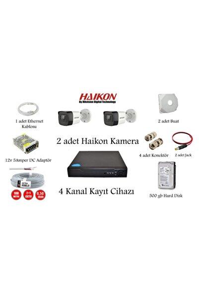 Haikon Kuruluma Hazır 4 Kanal Kayıt Cihazı + 2 Adet Kamera + (cep Tel Izleme) + Hard Disk Güv. Kam. Sis.