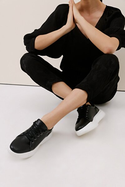 Gusto Kalın Tabanlı Sneaker - Siyah