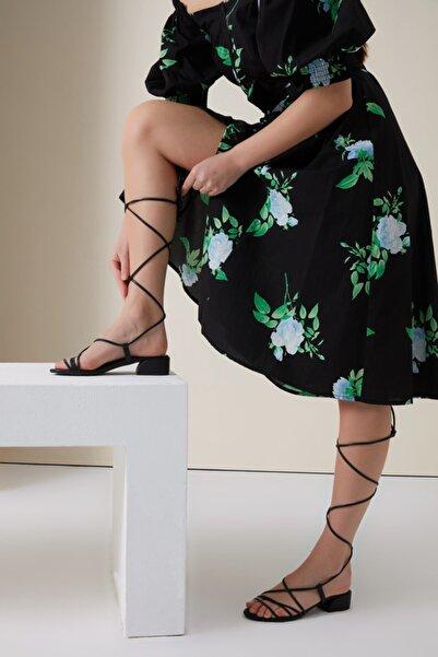Gusto Bağlamalı Önü Ince Bantlı Ayakkabı - Siyah
