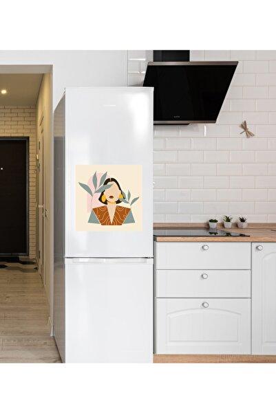 MimOzalit Sarı Küpeli Kadın Büyük Boy Buzdolabı Magneti - 50x50cm