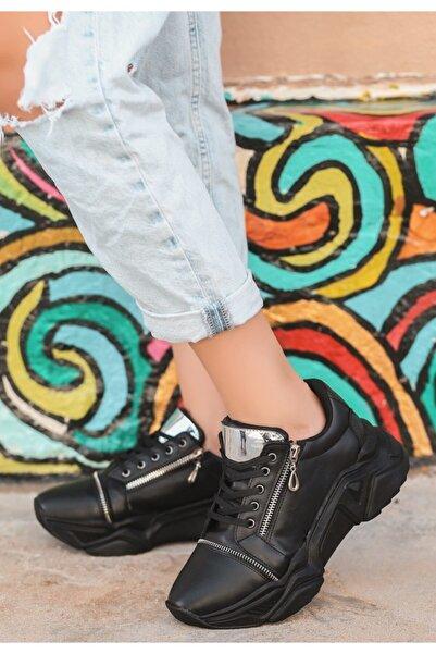 VİVA Siyah Cilt Bağcıklı Spor Ayakkabı