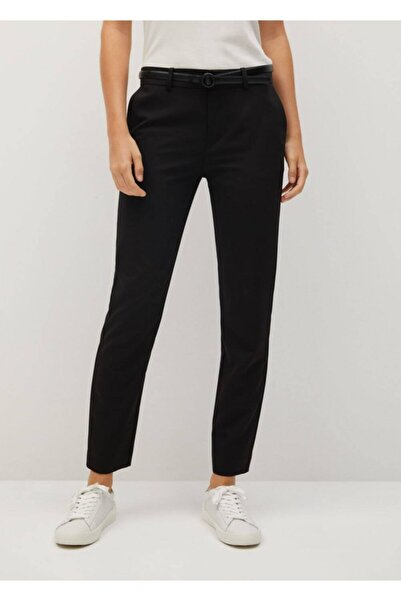MANGO Woman Kadın Siyah Kemerli Kumaş Pantolon