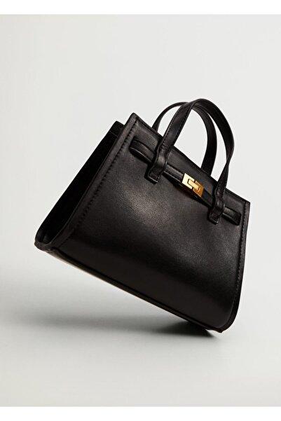 MANGO Woman Kadın Siyah Mini Shopper Çanta