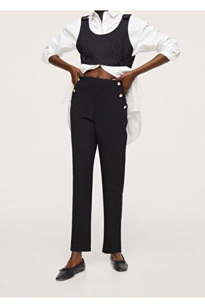 MANGO Woman Kadın Siyah Kısa Paçalı Düğmeli Pantolon
