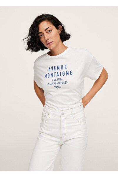 MANGO Woman Kadın Beyaz Geniş Kesim Koton Tişört