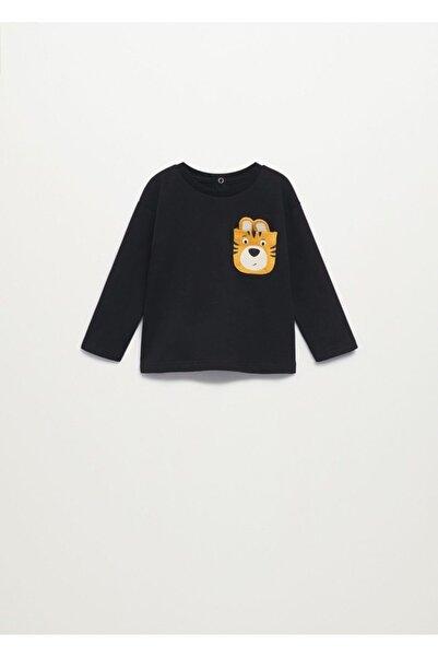 MANGO Baby Bebek Siyah Uzun Kollu Cepli Tişört