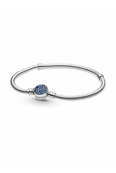 Pandora Moments Işıltılı Mavi Disk Klipsli Bileklik