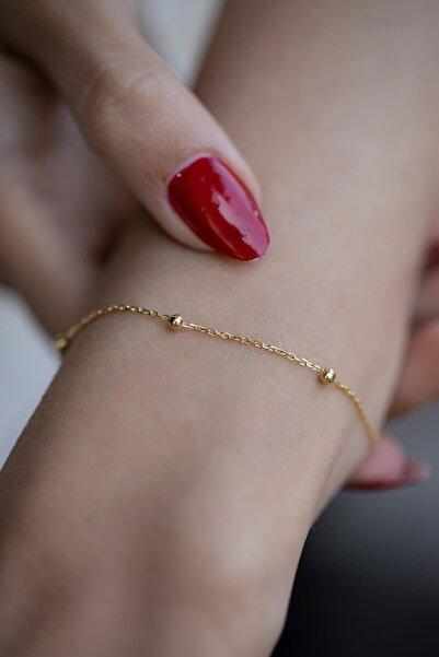 Marbling Kadın Top Model Gold Zincir Bileklik Ebr6002
