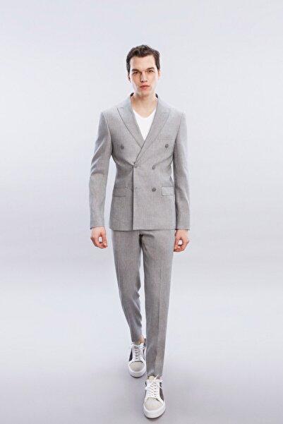 W Collection Erkek Gri Kruvaze Takım Elbise