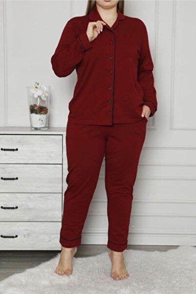 Nicoletta Bordo Kadın Pijama Takımı Düğmeli Uzun Kollu Büyük Beden Cepli