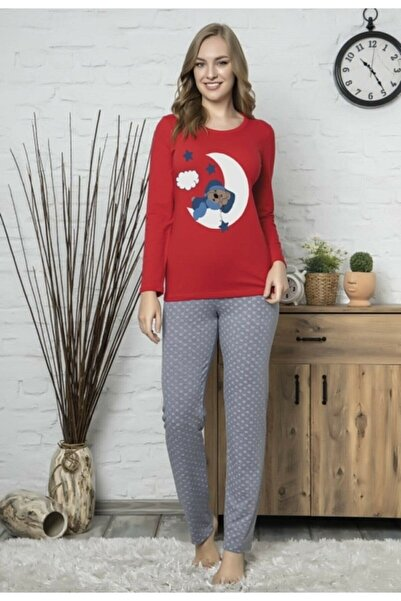Zirve Seyko Kadın Penye Alt Üst Pijama Takımı 69236 Renk Kırmızı