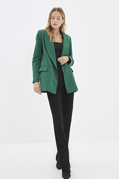 TRENDYOLMİLLA Yeşil Klasik Ceket TWOSS20CE0059