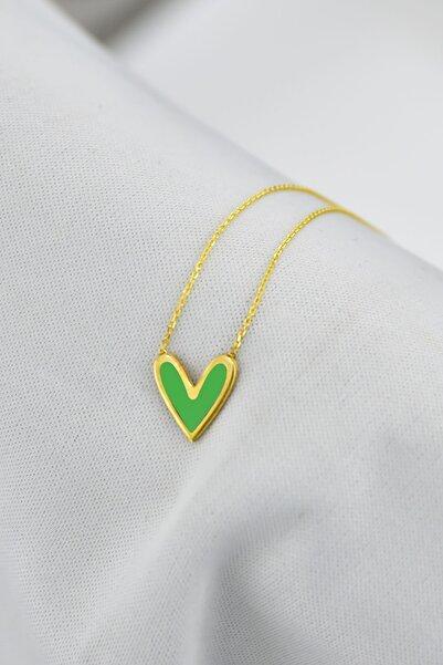 Papatya Silver 925 Ayar Gümüş Altın Kaplama Yeşil Oval Mineli Kalp Kolye