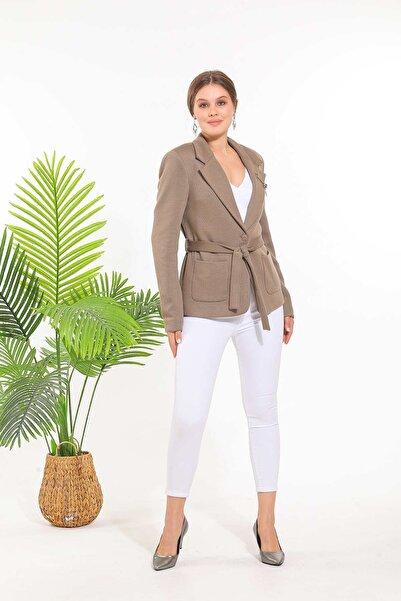 SİSLİNE Kadın Vizon Triko Ceket
