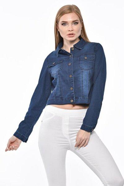 Modkofoni Düğmeli,cepli Ve Likralı Yıkamalı Kısa Koyu Mavi Kot Kadın Ceket