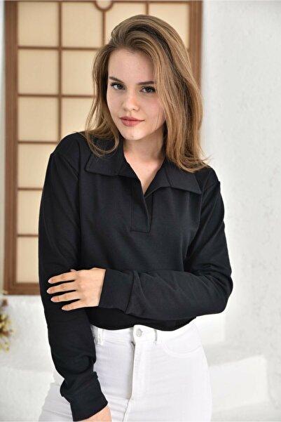 Mayluga Crop Polo Gömlek Yaka Uzun Kol Siyah Bluz 1. Kalite 2 Iplik