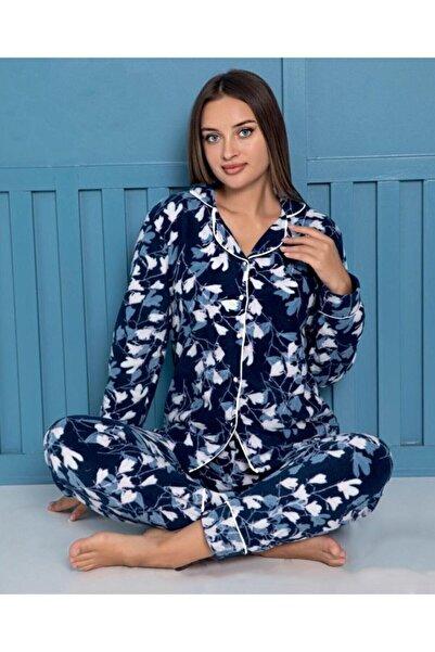 Sude Homewear Plr-p-9027 Lacivert Bayan Önden Düğmeli Polar Pijama Takımı