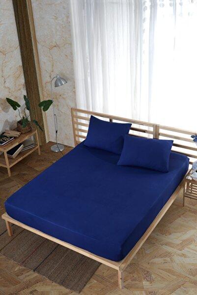 Cotton Touch Lacivert 160x200 Çift Kişilik Lastikli Çarşaf + Yastık Seti
