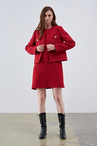 Gusto Tüvit Simli Ceket - Kırmızı