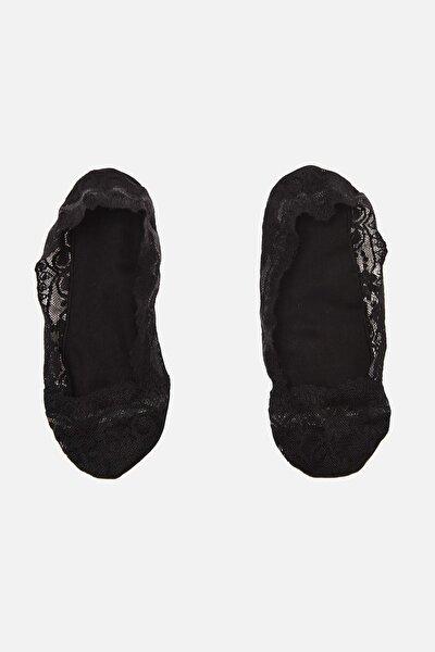 TRENDYOLMİLLA 2'li Paket  Siyah Dantel Babet Çorap THMAW22CO0229
