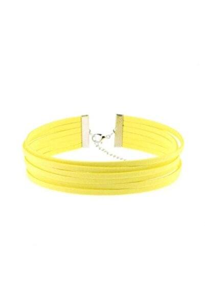 Bijustore Sarı Renk Kadın Süet Choker