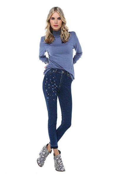 Modkofoni Mavi Koyu Denim Incili Taşlı Yıldız Nakış Detaylı Kadın Pantolon