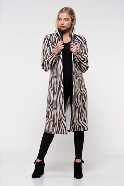 Modkofoni Kemerli Zebra Desenli Uzun Kadın Ceket
