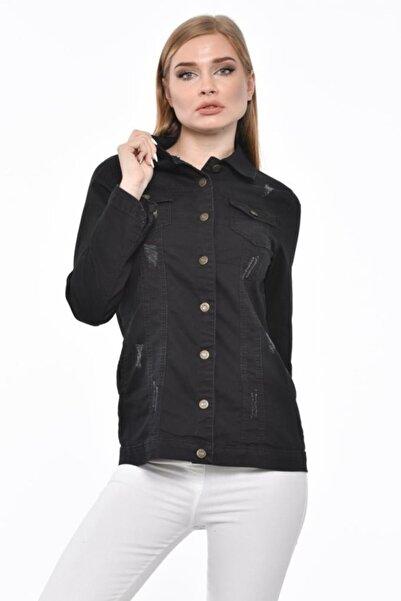 Modkofoni Düğmeli,cepli Ve Likralı Zımparalı Düz Kesim Siyah Kadın Kot Ceket