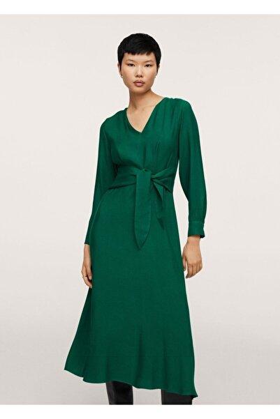 MANGO Woman Dökümlü Fiyonklu Elbise
