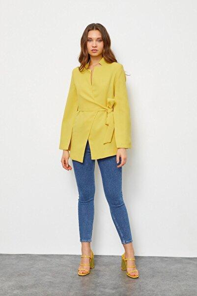 Setre Kadın Sarı Kruvaze Pelerin Ceket