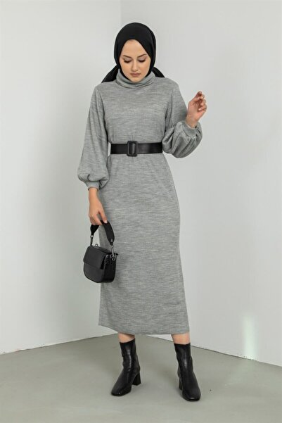 EMELL TURGAY Boğazlı Bileği Lastikli Gri Triko Elbise