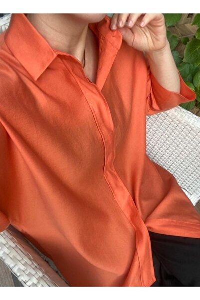 Patiska Kadın Oversize Turuncu Gömlek