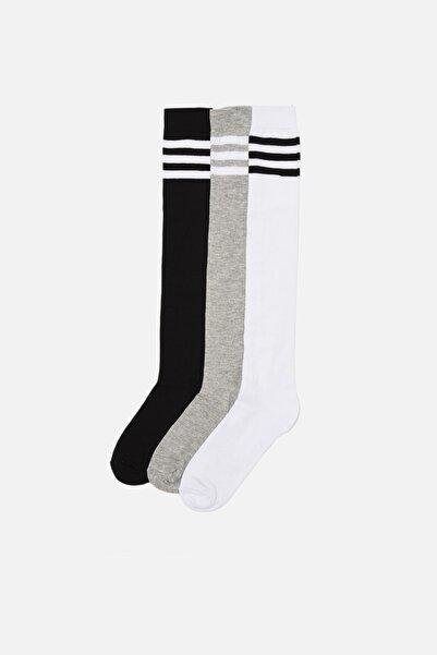 TRENDYOLMİLLA Çizgili 3'lü Paket Uzun Çorap THMAW22CO0064