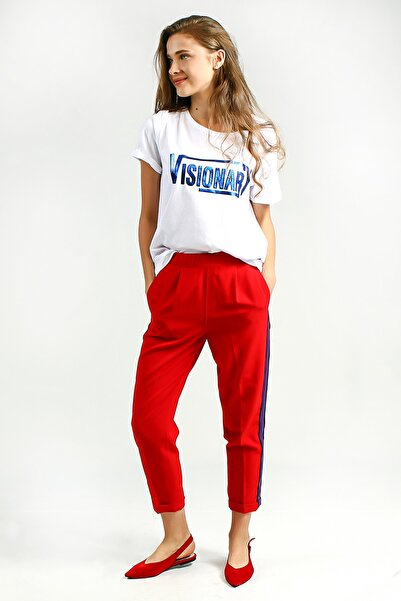Collezione Kadın Kırmızı Jogger  Pantolon