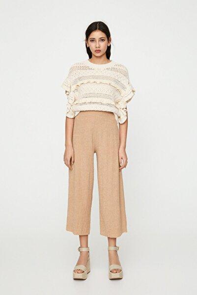 Pull & Bear Kadın Kum Rengi Hafif Culotte Pantolon 05670329