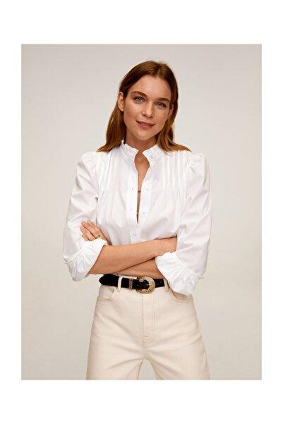 Kadın Kırık Beyaz Balon Kollu Bluz 67056307