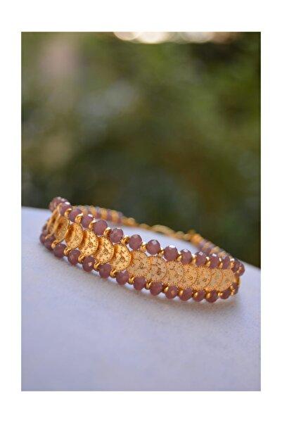 Stoneage Altın Kaplama Tuğralı Mor Renkli El Yapımı Kadın Bileklik